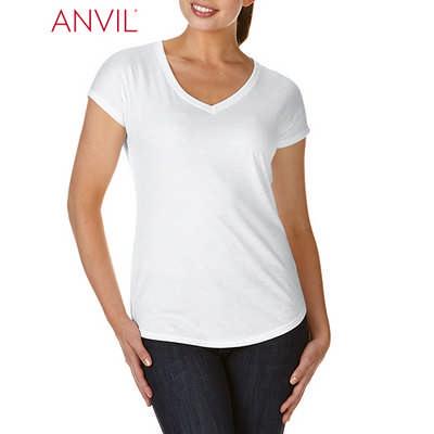 Anvil Womens Tri-Blend V-Neck Tee White